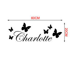 Charms Black Butterfly Personalised Wall Sticker Name Mural Wall Vinyl Art Decal