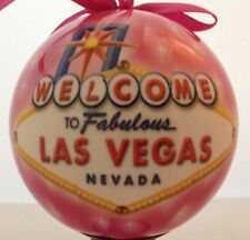 Las Vegas Sign Christmas Tree Ball Ornament Holiday Pink LED Light Up Hanging