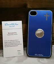 L@@K iPhone Case 4 4s Holy Element Israel Christian Blue Soil Cross NEW !!