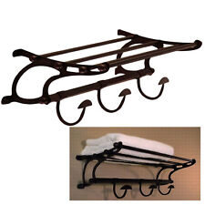 Oil Rubbed Bronze Paris Hotel Style Train Rack Towel Shelf Hooks Bath Hardw