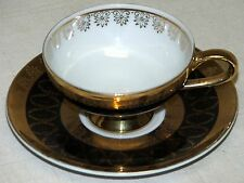Royal Crown Hand Painted Black & Gold Tea Espresso Coffee Cup & Saucer 1699