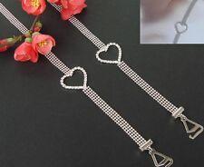 Decorative Bra Straps Four Beaded Rows with Diamante Heart Design 1 pair