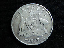 Australian 1922 King George Fifth KGV Sixpence Sterling Silver Coin