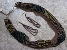 MULTI STRAND MULTI BROWN & BLACK GLASS SEED BEAD MULTI LINK COPPER NECKLACE SET