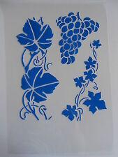 Schablone Stencil Weintraube mit Blätter  Textil Airbrush Wanddeko u.v.m auf A4