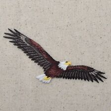 Iron On Embroidered Applique Patch Patriotic American Bald Eagle Soaring Flying