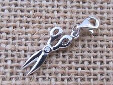 SCISSORS 925 STERLING SILVER  CHARM WITH CLAW CLASP  FREE GIFT BOX