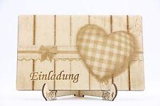 Holz Einladungskarte, Laser graviert, Hochzeit Einladung, Einladung, Holz, Herz