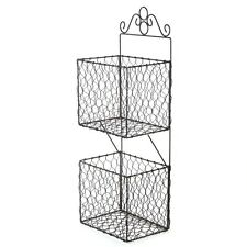 Wire Storage Rack Wall Hanging Kitchen Double Basket Unit Shelf Vintage Style
