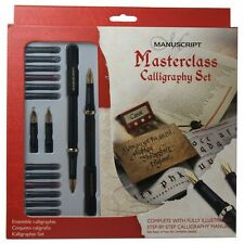 Manuscript Calligraphy Masterclass 18 Piece Pen Set -  4 Nibs, Ink, & Guide Book