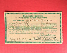 Antique 1919 Winchester Junior Rifle Corps Membership Certificate Sharpshooter