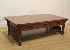 Crafters and Weave Mission Solid Oak Coffee Table with Three Drawers & Spindles