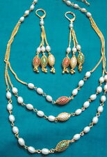 Indian desiginer very qutThree line rice pearl set with Earings in multi colour