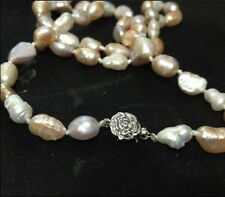 """NEW long 22 """"7-8mm baroque white+Pink+Purple freshwater pearl necklace AAA"""