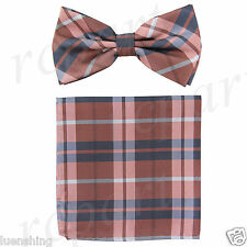 New Brand Q formal Men's Pre-tied Bow Tie & Hankie mauve dusty pink gray checker