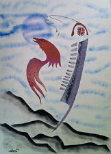 Russell Noganosh (Native Canadian) - Eagle Staff - Acrylic On Paper