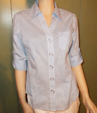 Liz & Co Ladies M Blue White Checked Cotton 3/4 Roll Up Sleeve Button down Shirt
