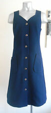 VINTAGE 60S DARK BLUE SLEEVELESS POCKET MOD SCOOTER SMART MIDI DAY DRESS 8