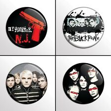 "4-Piece MY CHEMICAL ROMANCE (MCR Set 3) 1"" Pinback Band Buttons / Pins / Badges"