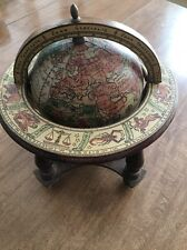 """Vintage Wooden 7"""" Zodiac Globe Made In Italy"""