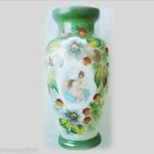 Art glass vase with woman portrait and strawberries FREE SHIPPING