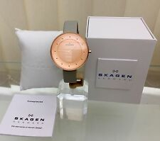 Designer Skagen Ladies rose Gold plated Grey Strap Watch SLIM RRP £179 (a38