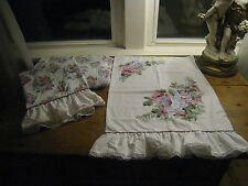 BOUNTIFUL OF FLOWERS, RUFFLES~ TWIN SET OF SHEETS~FITTED~FLAT~PILLOWCASE  #24