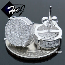 MEN 925 STERLING SILVER 12MM LAB DIAMOND ICED OUT BLING ROUND STUD EARRING*E83