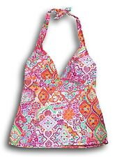 Chaps Women's Size 16 Orange Pink Floral Geometric Print Tankini Bikini Top NEW