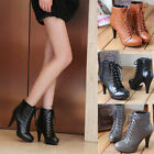 Womens Boots Platform Round Toe High Heel Lace Up Ankle Boots Fashion Shoes W343