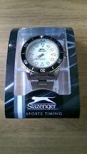Slazenger Sport cronometro Uomo BIANCO Viso Orologio da polso con cinturino in acciaio
