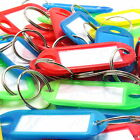 50 x KEY RING ID TAGS WITH NAME CARD ~MIXED COLOURS~ Luggage Car Fob House Work