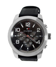 Tommy Hilfiger 1791110 Black Day Date  Leather Band Men Watch NEW