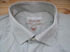 TA201 Eterna city leger Businesshemd Kombimanschette 43 Creme Dunkelgrau gestrei