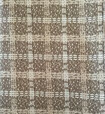 Vintage Wool Blend Plaid Fabric 3.44 yds White Cream & Brown