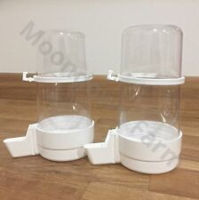 2 x 400cc Bird Feeder Water Drinker Seed Fountain Cage Budgie Canary Finch