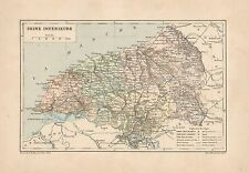 C9076 France - Seine Inférieure - Cartina geografica antica - 1892 antique map