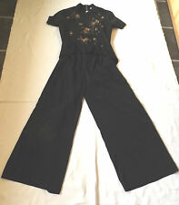 BNWT MAHIMA EXIM UK 20 EUR 48 BLACK SEQUIN & BEADED STUNNING JUMPSUIT WRAP TOP