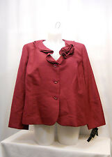 PLUS SIZE 24W Womens Suit Jacket LE SUIT Mulberry Red Ruffled Neck Flower Pin