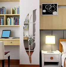 DIY Mirror Leaf Design Removable Home Wall Stickers Decal Arts Vinyl Room Decors