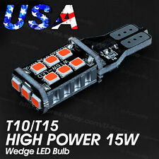 2X Pure Red T15 15-SMD 5630 Wedge LED bulbs 921 Back up CanBus High Power