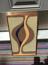 VINTAGE Mid Century Modern Geometric Oil Painting Hard Edge Framed Signed MUENCH