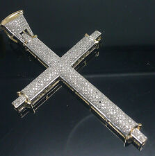 "10K Men's Yellow Gold Diamond Cross 1.50CT 4"" Long/ Angel, Jesus"