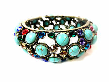 CHUNKY LADIES TURQUOISE / MULTI LAYER BRACELET STUNNING UNIQUE (ST80)