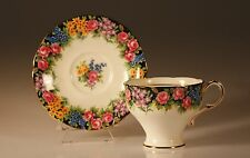 "Paragon ""Old English Garden""  Corset Shaped Cup and Saucer, 1939 Made In England"