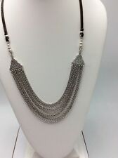 $39.50 Lucky Brand Multi Chain Silver Tone & Leather Necklace