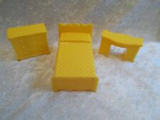 Vintage Doll House Miniature Plastic Yellow Bedroom Set, -  Bed & Two Bureaus