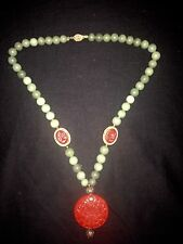 Vintage Chinese Big Carved Cinnabar Floral Pendant With Jade Like Stone Necklace