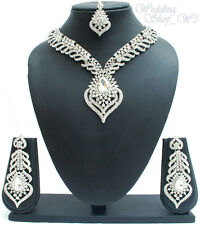 Silver Diamante Indian Jewelry Wedding Necklace Set Earrings Tikka Bridal N04