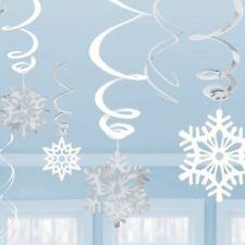 6 SNOWFLAKE CHRISTMAS WINTER WOUNDERLAND HANGING SWIRL CEILING DECORATION FROZEN
